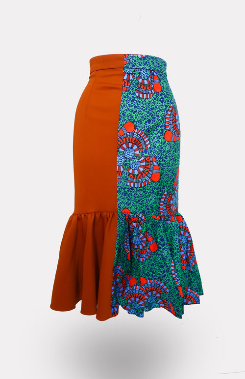 Two Faced Orange w/ Ikeogu Mermaid Skirt African Print - African Wax - Ankara - Chinero Nnamani