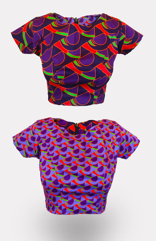 Wensi Reversible Crop Top - African Wax - Ankara - Chinero Nnamani