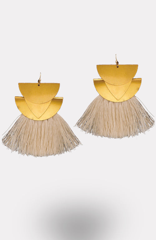 Goddess Fringe Earrings-White