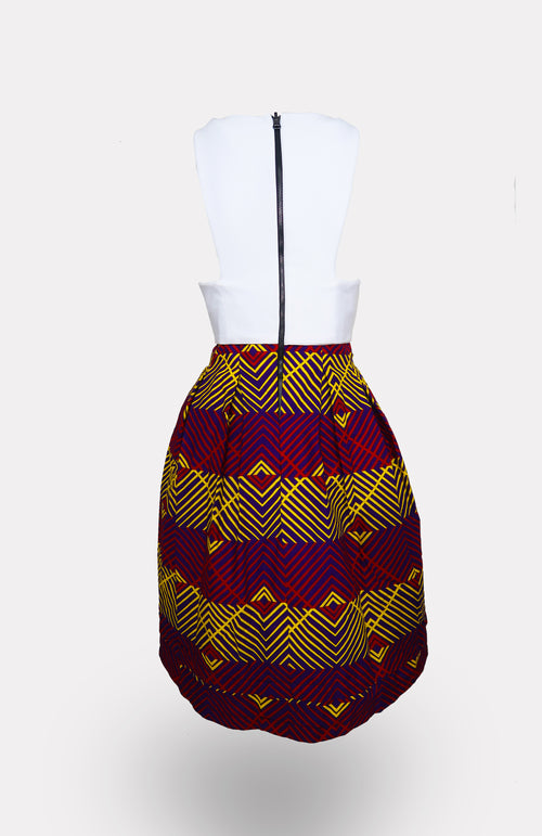 White Shadow Top w/ Soludo Dress African Print - African Wax - Ankara - Chinero Nnamani