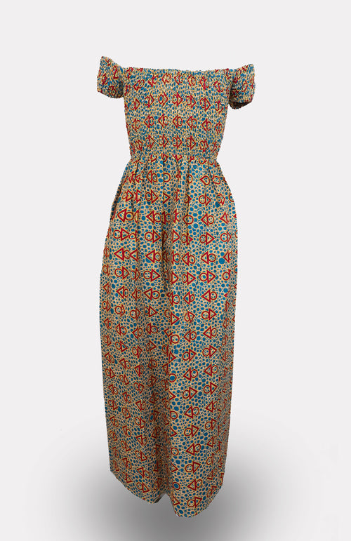 Zain Off-shoulder Maxi Dress - African Wax - Ankara - Chinero Nnamani