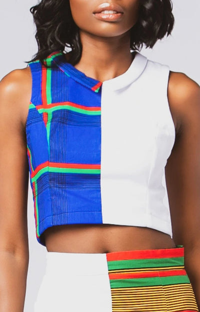 Two-Faced Crop Top in White w/ Ife African Print - African Wax - Ankara - Chinero Nnamani