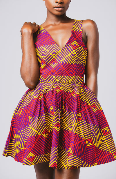 Soludo Mini Tennis Dress African Print - African Wax - Ankara - Chinero Nnamani