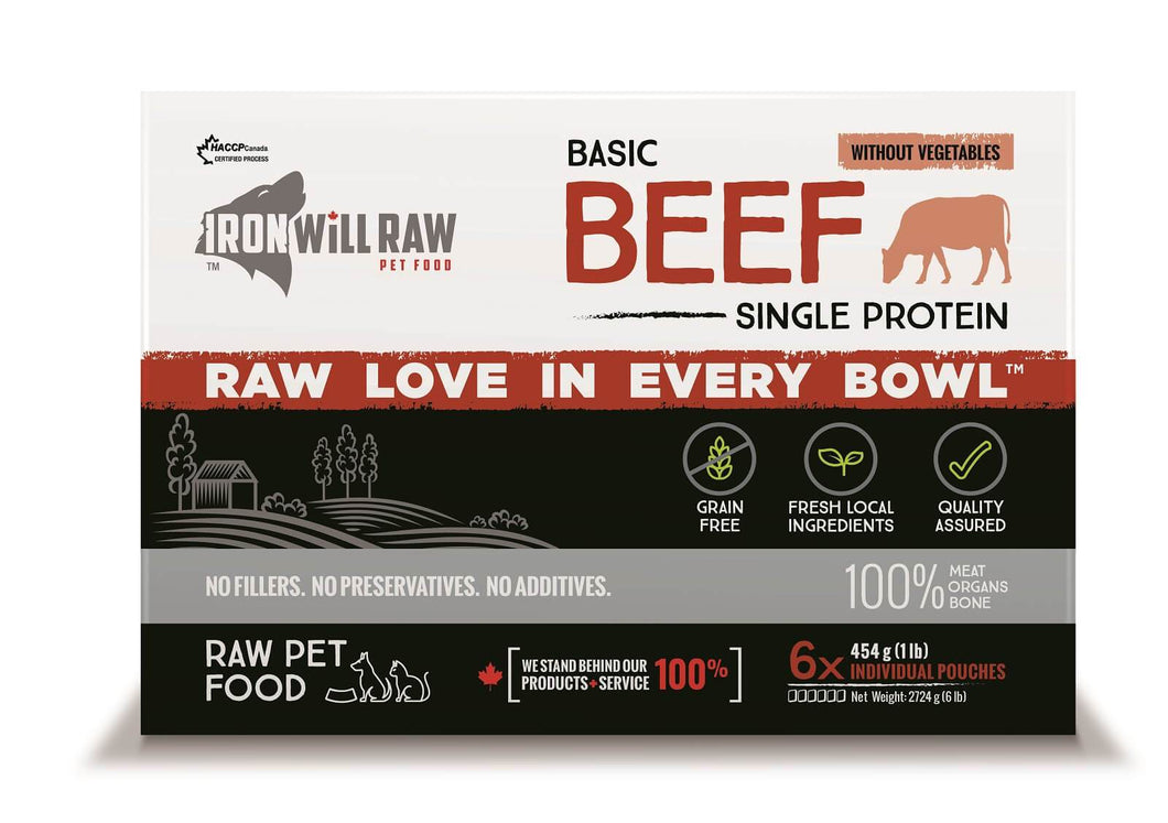IRON WILL RAW - BASIC BEEF- 6LB - Chubbs Bars, Frozen Raw Food - pet shampoo, Woofur - Chubbs Bars Company, Woofur Natural Pet Products - Chubbs Bars Canada