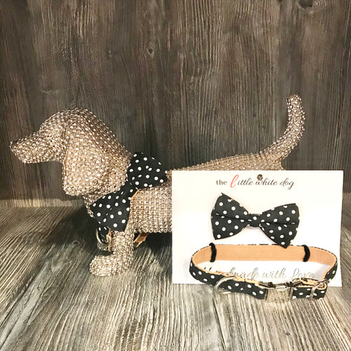 LWD - White on Black Polka Dot Collar - Chubbs Bars,  - pet shampoo, Woofur Natural Pet Products - Chubbs Bars Company, Woofur Natural Pet Products - Chubbs Bars Canada