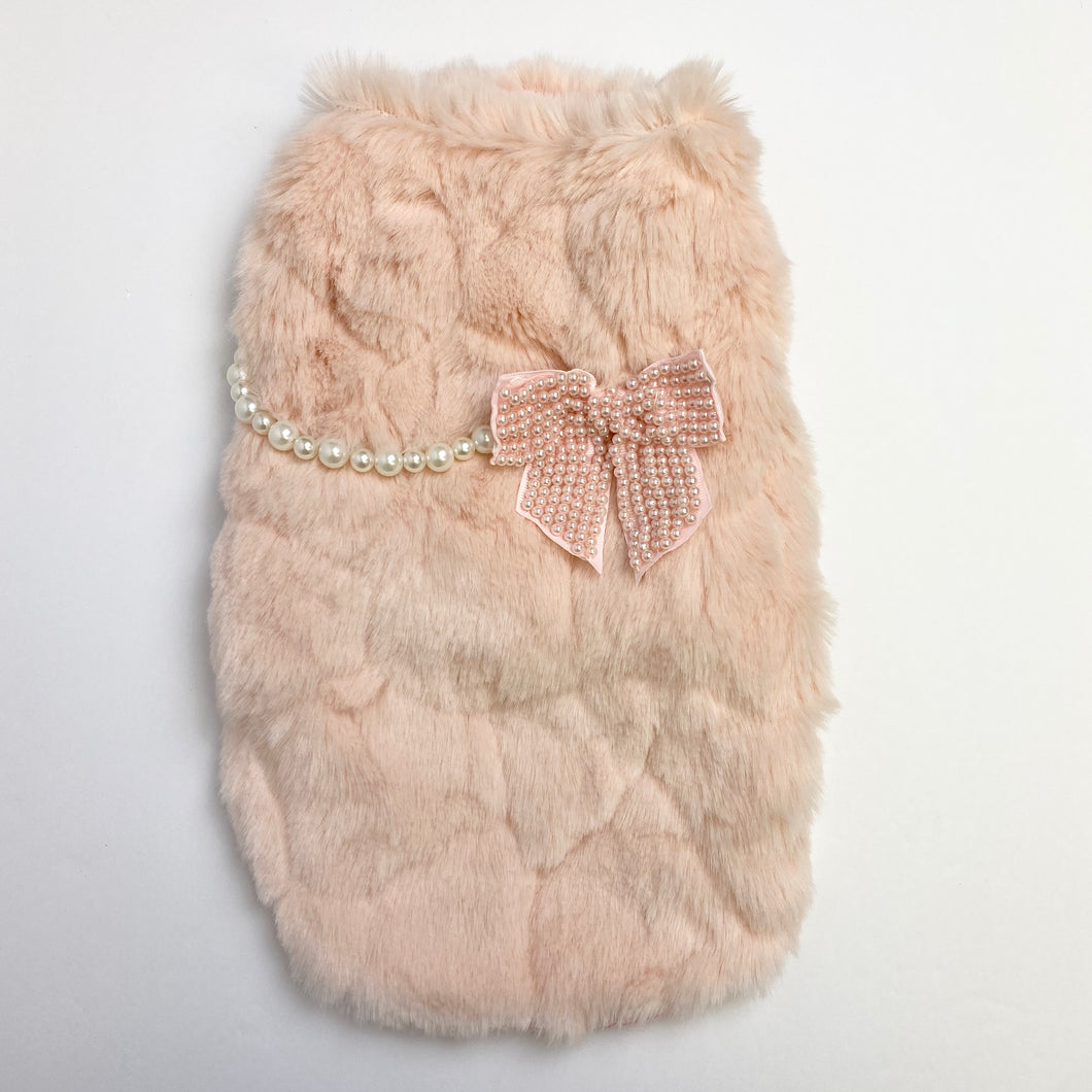 LWD - Pink Fur Jacket with Pearls
