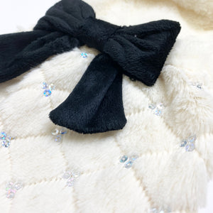LWD - White Fur Jacket with Black Bow