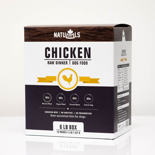 NATURAWLS - CHICKEN DINNER - Chubbs Bars, Frozen Raw Food - pet shampoo, Woofur - Chubbs Bars Company, Woofur Natural Pet Products - Chubbs Bars Canada