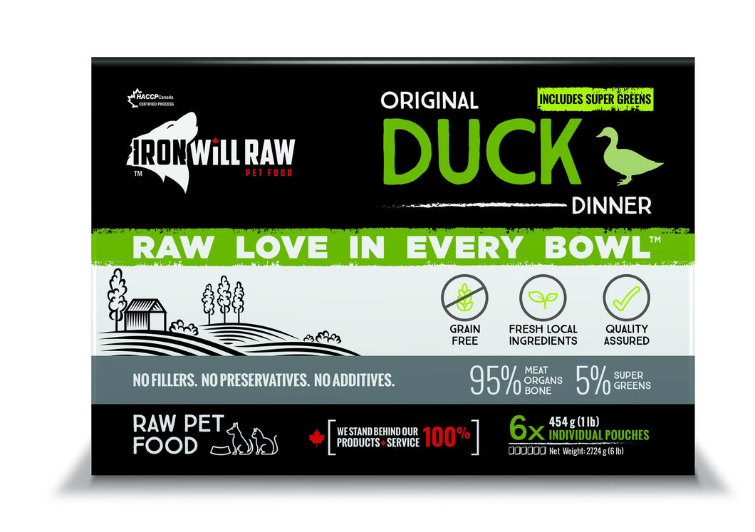 IRON WILL RAW - ORIGINAL DUCK - 6LB - Chubbs Bars, Frozen Raw Food - pet shampoo, Woofur - Chubbs Bars Company, Woofur Natural Pet Products - Chubbs Bars Canada