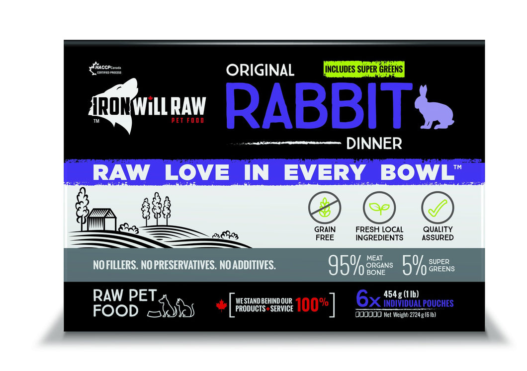 IRON WILL RAW - ORIGINAL RABBIT - 6LB - Woofur Natural Pet Products