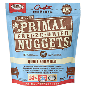 Primal Freeze Dried - Quail Formula - 14oz - Chubbs Bars, Freeze Dried Food - pet shampoo, Woofur - Chubbs Bars Company, Woofur Natural Pet Products - Chubbs Bars Canada