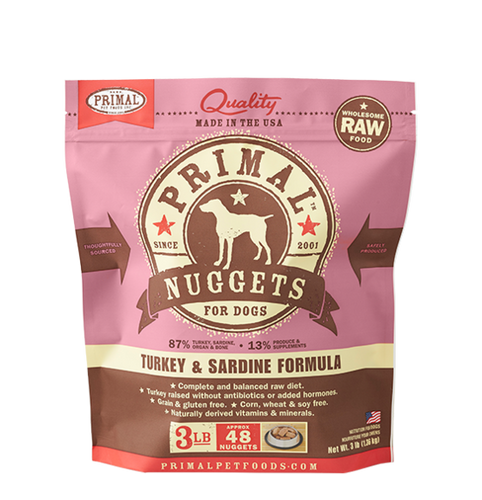 Primal Frozen - Turkey & Sardines - 3lbs - Woofur Natural Pet Products