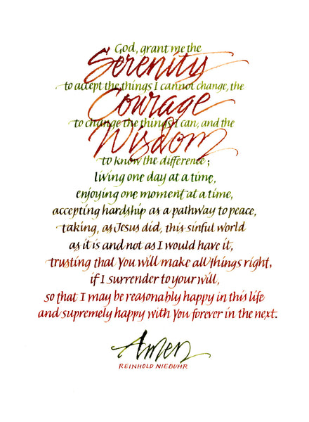 Pp 001 Serenity Prayer 8x10 Calligraphy By Carla