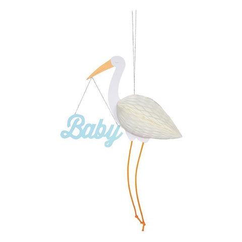 Blue Baby Stork Honeycomb Card
