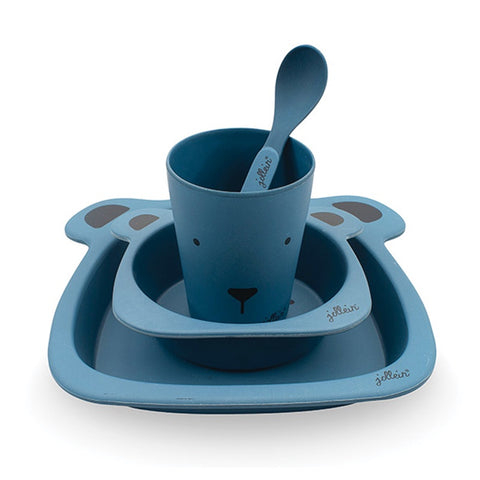 Dinner Set Bamboo Animal Club Steel Blue
