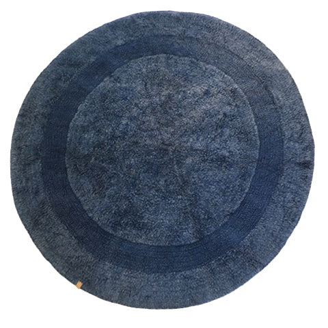 Deer Round Rug Pale Navy