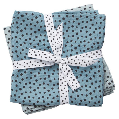 Burb Cloth (2 pack) Happy Dots Blue