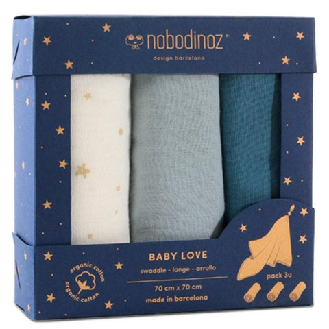 Nobodinoz Swaddle Baby Love Blue Pack of 3