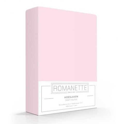Romanette Fitted Sheet Cotton 90x200 Light Pink
