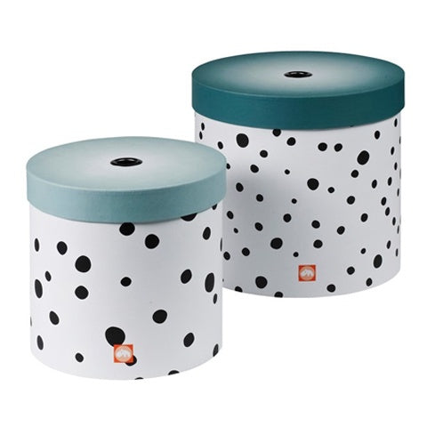 Round Storage Box Set Happy Dots Blue