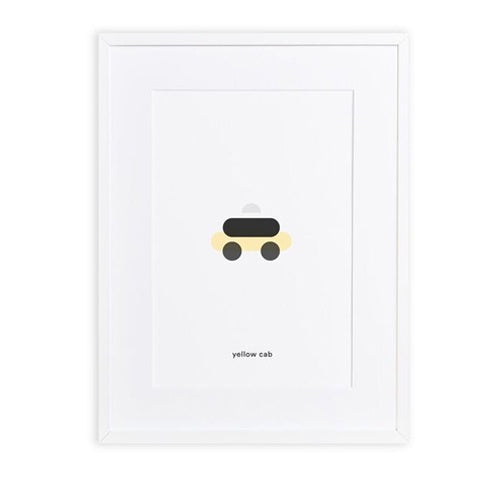 Art Print Yellow Cab Minimal