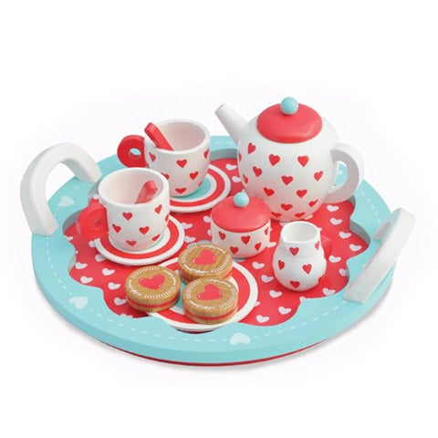Wooden Toy Hearts Tea Set