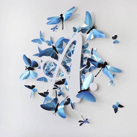 Paper Dragon Fly Wall Decor Glossy Azure Blue