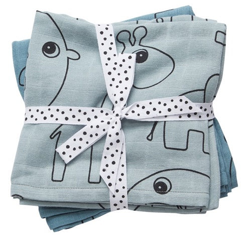 Burb Cloth (2-pack) Contour Zoo Blue