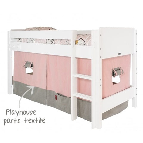 Playhouse Textile Semi Loft Bed Grey/Pink