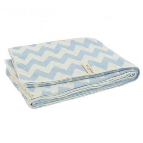 Blanket Jollein Chevron 100x150 Blue Off White