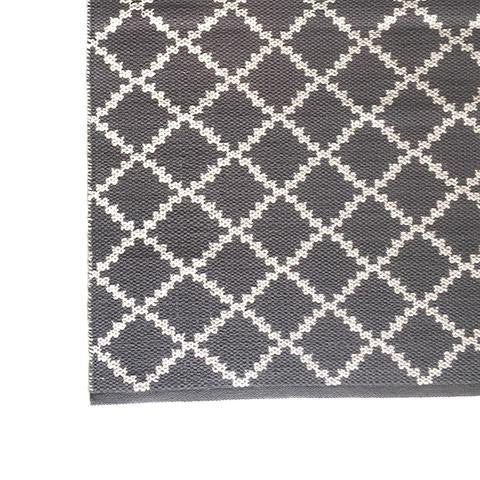DEER Cotton Rug Geometric Steel Grey