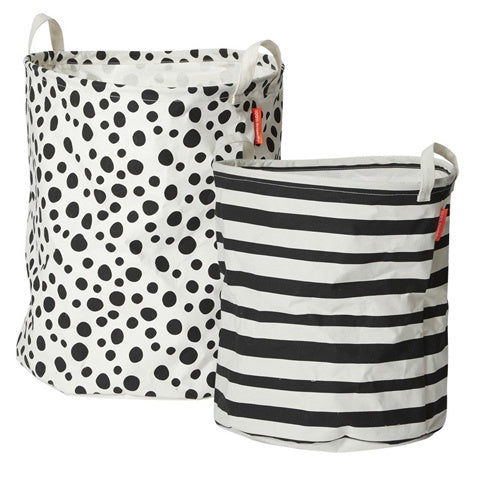 Soft Storage Basket Black and White (set of 2)