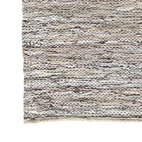 DEER Leather Handloom Rug Beige Metallic