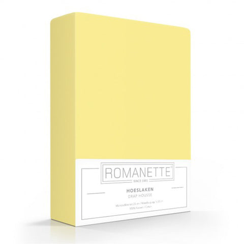 Romanette Fitted Sheet Cotton 90x200 Yellow