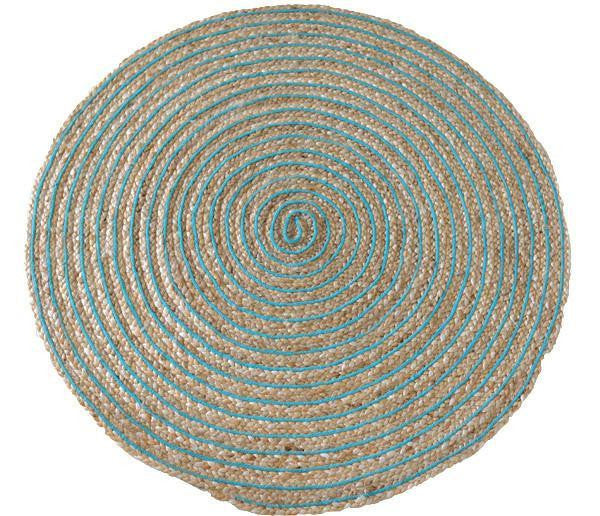 Deer Round Ring Rug Aqua Blue