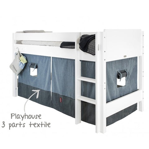 Playhouse Textile Semi Loft Bed Denim/Navy Blue