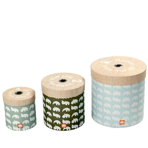 Round Storage Box Set Zoo Blue/Green