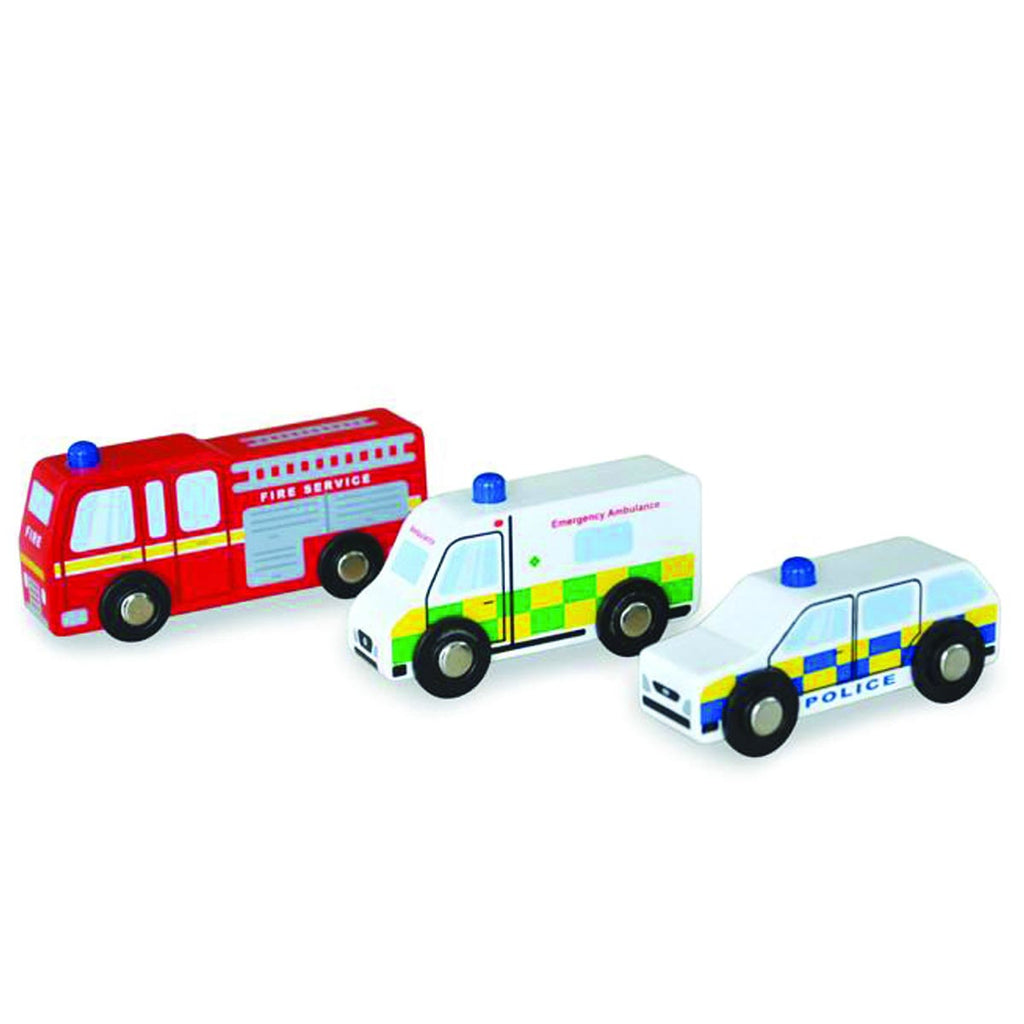 Set of Wooden Toy Emergency Vehicles