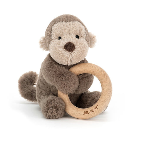 Jellycat Wooden Ring Toy Shooshu Monkey