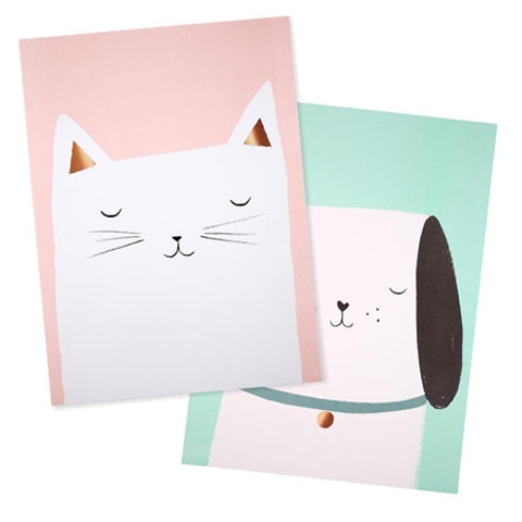Art Prints Cat & Dog (set of 2)