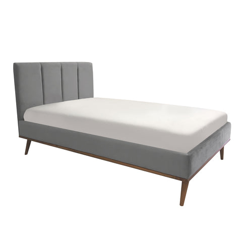 Upholstered Bed Twin Size Velvet Grey
