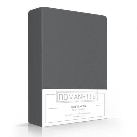 Romanette Fitted Sheet Cotton 90x200 Anthracite
