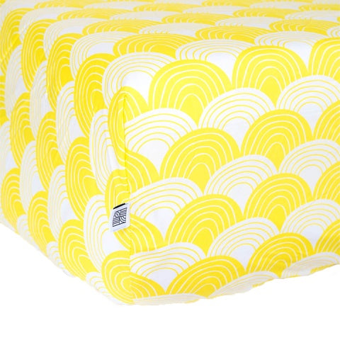 Fitted sheet 90x200cm Rainbows Banana Yellow