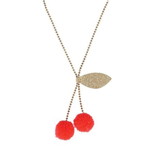 Kids Necklace Cherry Pom Pom