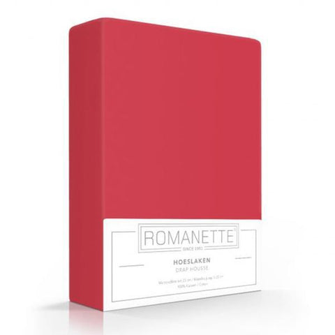 Romanette Fitted Sheet Cotton 90x200 Red