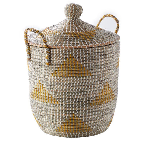 Seagrass Basket Yellow & White (S)