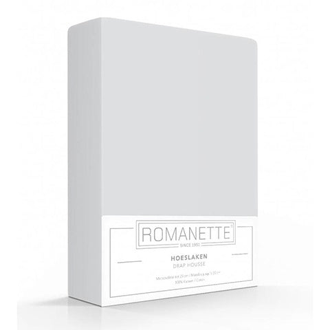 Romanette Fitted Sheet Cotton 120x200 Silver