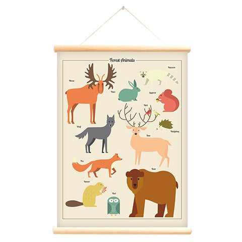 Poster With Hanger Forest Animals