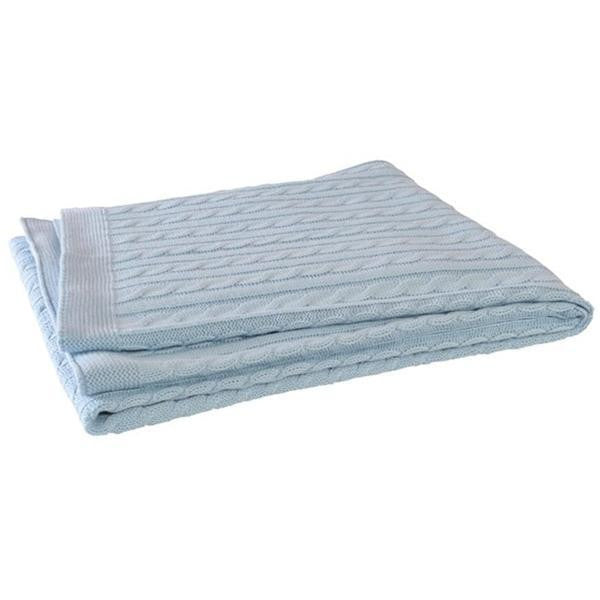 Jollein Knitted Cable Cot Blanket Light Blue