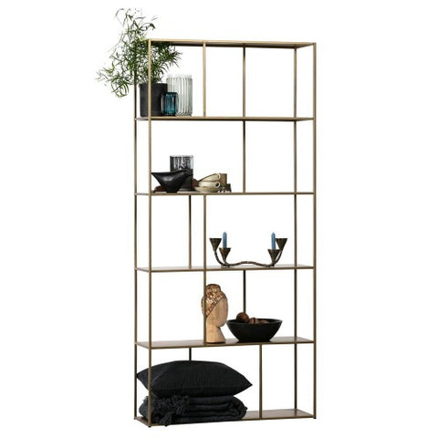Shelving Unit Metal Antique Brass